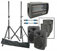 QTXSound 200 Watts RMS Complete PA Package With Bags and Stands