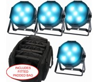 Pack of Four Kam Powercan 15 RGB 15 Watt LED Par Can Uplighters With Bag