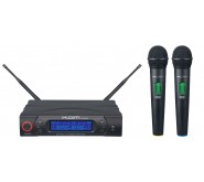 KAM KWM1960 HH UHF Dual Handheld Wireless System + Case Microphones